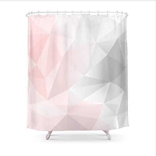 HANYULIAN Duschvorhang Rosa Grau Geometrische Low Poly Hintergrund Duschvorhang wasserdichte Polyester Stoff Badezimmer Dekor Gedruckt Duschvorhang (Hintergrund Duschvorhang)