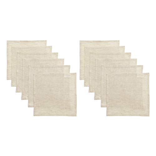 Solino Home Servietten, 100% reines Leinen, 4 Stück, 50,8 x 50,8 cm, weich und mit Gehrungsecken gefertigt, Natura Collection, Mokka, Cocktail Napkins (Set of 12) -