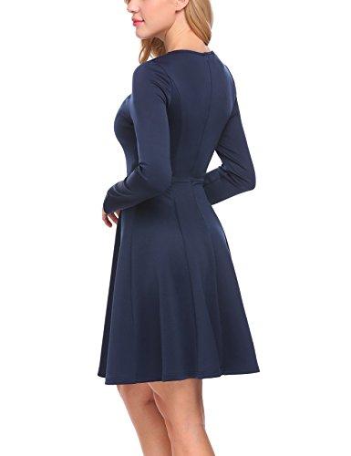 Finejo Damen Elegante Kleider A-Linie Partykleider Winterkleider Langarm Weihnachten Swing Kleid Marineblau