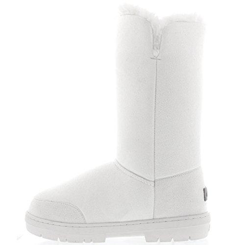Femmes 3 Touche Classique Fourrure Doublée Chaussures Chaleureux Bottes Blanc