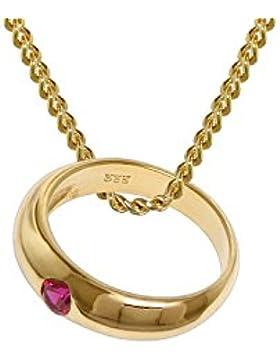 trendor Gold-Anhänger Taufring Rubin mit 42 cm goldplattierter Halskette 48665