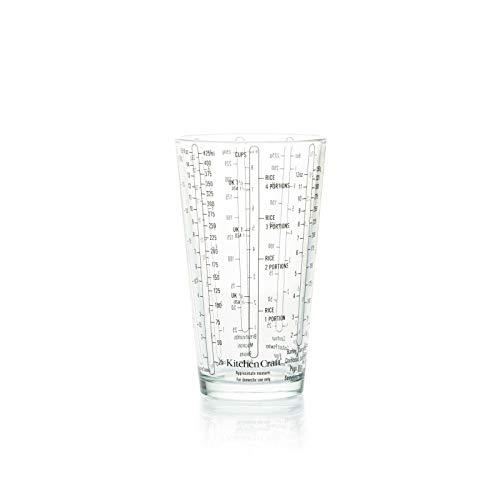 Temperglas Messbecher, MessGlas, Glas mit Skala, Burette / Beaker / Jigger Cup / Measuring Glass Einheiten Unzen OZ, Teelöfel TSP (Teaspoon), Esslöffel TBSP, ml für amerikanische Rezepte (425 ml) Glas Jigger