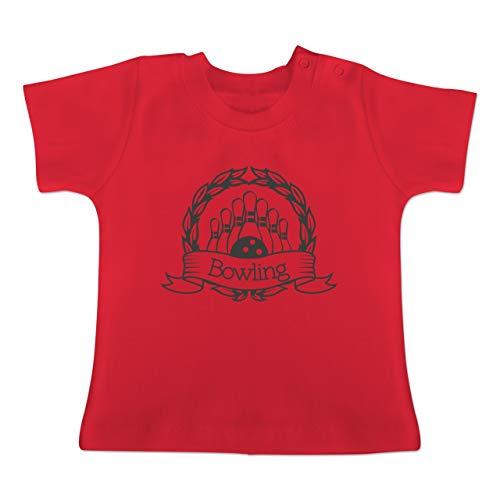 Sport Baby - Bowling Lorbeerkranz - 1/3 Monate - Rot - BZ02 - Baby T-Shirt Kurzarm