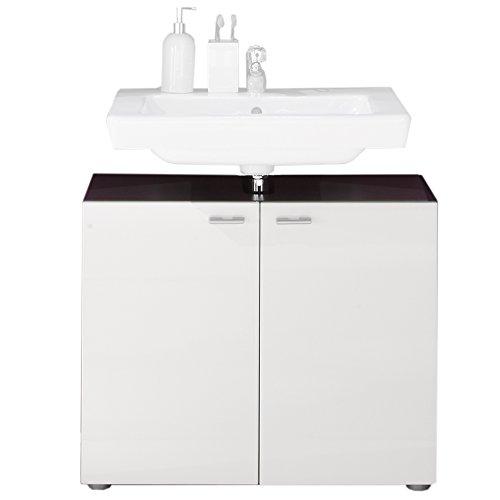 trendteam 1330-301-03 Waschbeckenunterschrank Tetis, 72 x 63 x 35 cm, graphit Nachbildung und Front in weiß Hochglanz -