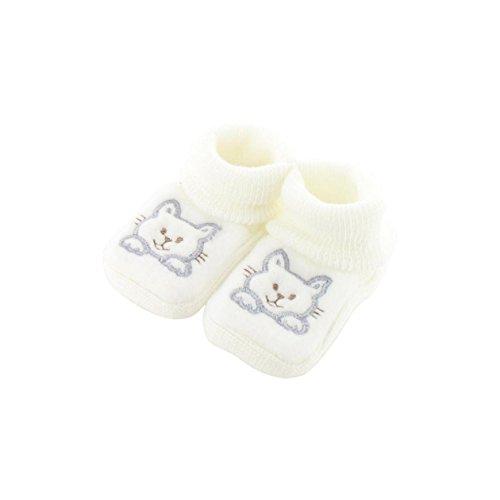 Chaussons pour bébé 0 à 3 Mois blanc - Motif Chaton