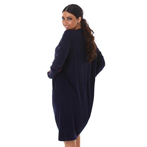 Voyelles Pullover Shirt Pulli Sweater Sweatshirt Rundhals Oversize Longshirt Longpulli Minikleid Mini Langarm Marine