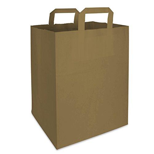 250 Premium BIO Papiertragetaschen mit Henkel Papiertüten Tüten Einkaufstaschen Tragetaschen Einkaufstüten Kreuzbodenbeutel Kraftpapiertüte braun 32 + 17 x 44 cm (Papier-tragetaschen Groß)