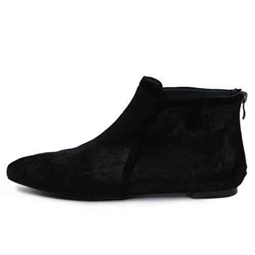 Da donna piatto Stivali femminili Le signore Cachemire Appartamento con appuntito Stivali Stivaletti alla caviglia piattaforme , black , 32 BLACK-35