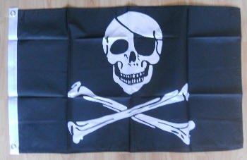Crâne de Pirate et os de croix Grand drapeau 3 m x 2 m