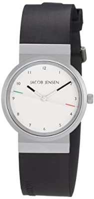 Jacob Jensen Watches New Series 743 - Reloj de mujer de cuarzo, correa de goma color negro de Jacob Jensen