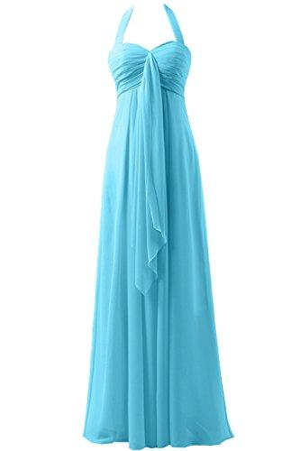 Sunvary a-line garza Empire della vita Halter d'onore abito da sera, da donna Blu