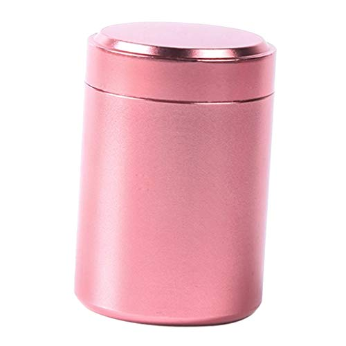 F Fityle Kaffeedose Aluminium Kaffeebehälter, Rund Vorratsdose für Reise Outdoor - Rose Gold