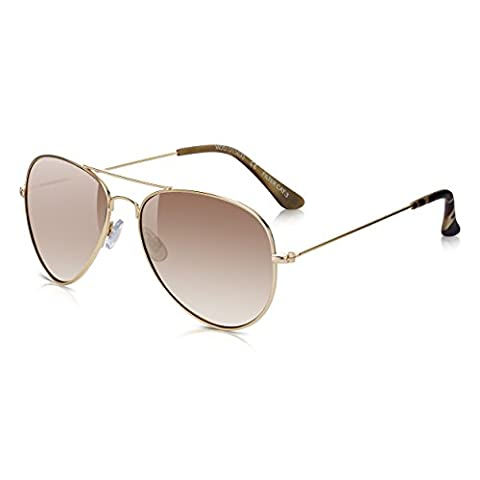 Sunglass Junkie Gold Mirror Aviator Sunglasses. 100% UV Protection UV-400 Lenses. Filter Category 3 Strong Anti-Glare. Double Bridge Metal Frame and Brown Tortoiseshell Rubberised Tips. Unisex