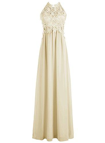Dresstells Damen Rückenfrei Neckholder Abendkleid mit Lace Bodenlang Ballkleid Champagner