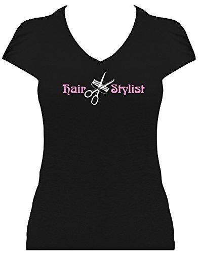 Fun Shirt Sprüche Damen Schrifzug Hair Stylist mit Kamm und Schere Friseur Weiß