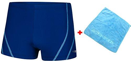 Aqua Speed Kurze Badehose Badepants für Herren   eng anliegende Schwimmhose   Badehosen Trunks mit UV-Schutz   Swimwear I + Kleines Microfaserhandtuch, Ryan, Gr. XXXL, Blue-Light Blue