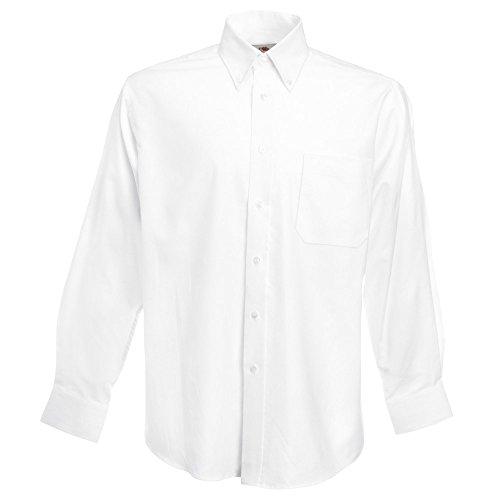 Fruit of the Loom Mens Oxford Long Sleeve Shirt white