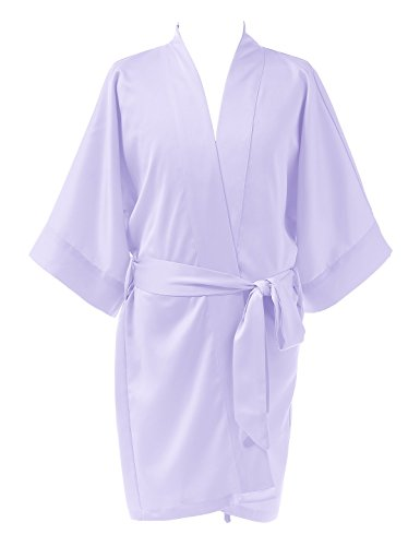 Remedios Kids Kimono Robe Sleepwear Bathrobe Wedding Party Girls Dressing Gown, Lilac, M