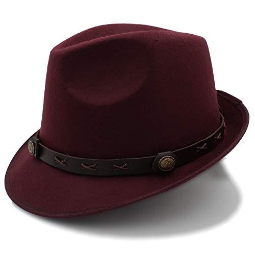 2018 Sombrero de fieltro, invierno otoño Mujer Hombre Mujer Sombreros Sombrero de Jazz Hat Panama Bowler Hats (Color : Vino rojo, tamaño : 56-58cm)