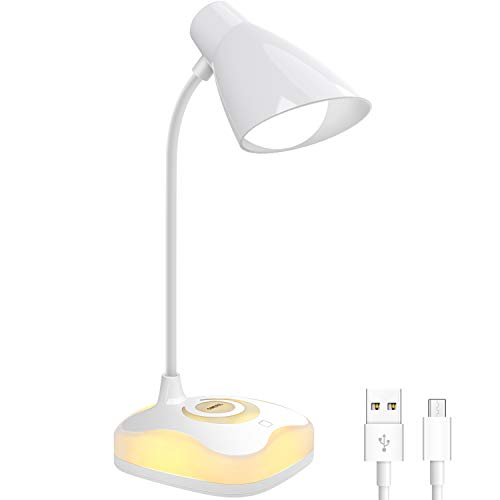Lámpara Escritorio LED, OMERIL Luz Lectura Recargable USB con ...