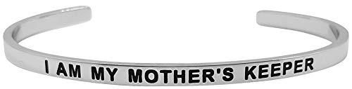 Glamour Girl Gifts Armreif mit Aufschrift I Am My Mother's Keeper, inspirierendes Mantra-Zitat, Positive Sprüche, Familienschmuck, Weihnachts- und Geburtstagsgeschenk - Mother Keeper