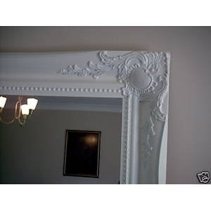 WHITE Shabby Chic Antique Style Rectangular Wall MIRROR - Size: 20 inches x 16 inches (50cm x 40cm) - low-cost UK light shop.