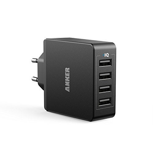 Anker 36W 5V / 7.2A 4 Port USB Ladegerät Wand Ladeadapter mit PowerIQ Technologie Wall Charger für iPhone iPad Tablet Samsung Galaxy, HTC, Sony, LG, Nexus,Motorola und usw (Schwarz) (Robuste 6 Iphone Fällen)