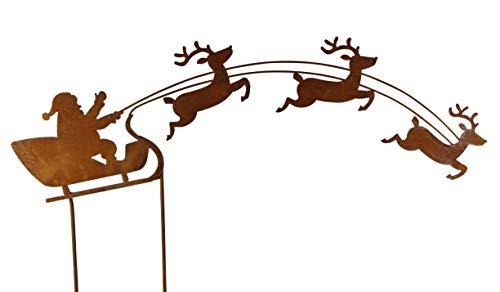 Bluemelhuber Weihnachtsmann auf Schlitten Rost Gartendeko Edelrost Gartenstecker