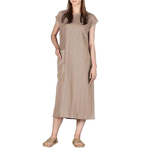 SCEMARK Damen Beiläufig Solides ärmelloses Kleid Langes Leinenkleid mit Rundhalsausschnitt und Tasche Langes Shirt Lose Tunika T-Shirt Kleid (M, Braun-2) (Schwerlast-vakuum)