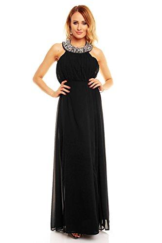 Damen Abendkleid Neckholder lang Abiballkleid rückenfrei Maxikleid Cocktailkleid Chiffon Kleid Schwarz