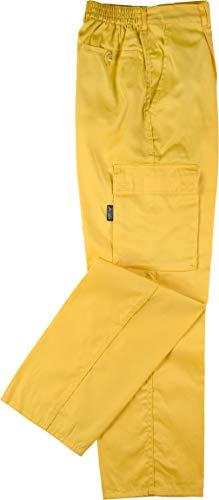 Pantalones amarillos elásticos multibolsillos
