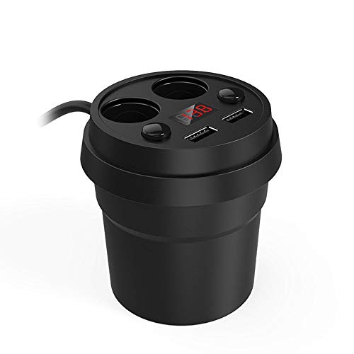 Cup Holder Car Charger Dual USB Digital Display Car Charger Energy Cup Car Phone Charger Handy-cup