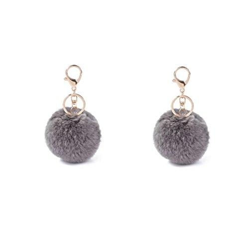 ILOVEDIY Neuheit Schlüsselanhänger aus Kaninchen Pelz Fellbommel Bommel Taschenanhänger Geburtstagsgeschenk (Grau*2) (Neuheit Tasche)