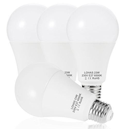 LOHAS® 23W E27 LED Lampen, Ersatz für 200W Glühlampen, 2500LM, Warmweiß 2700K, LED , 240°Abstrahlwinkel, LED Leuchtmittel, LED Birne, 4er-Pack