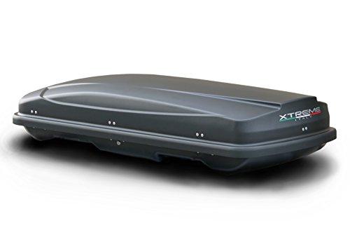 AUTOSTYLE AB X450MBD Sommer-/Winterdachbox Xtreme, 450 L, 200 x 80 x 40 cm, Doppelseitig Matt Schwarz