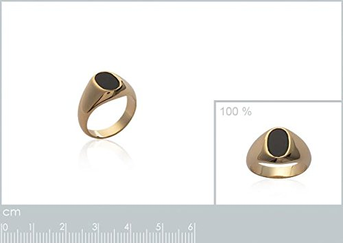 7d2a7da7d14d3 ISADY - Marlon Gold - Bague Mixte Homme Femme - Chevalière - Plaqué Or  750  000  (18 carats ) - Onyx noir