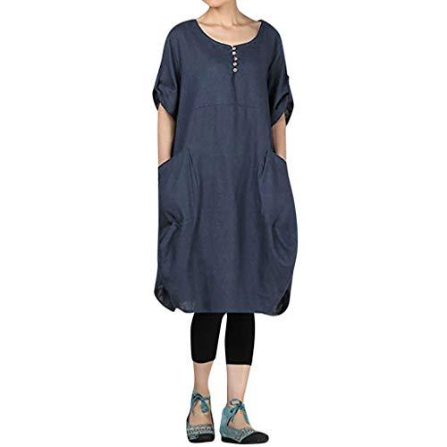 TUDUZ Mujer Vestidos con Bolsillos Algodón Lino Enrollado Manga Baggy Sundress (Azul, M)
