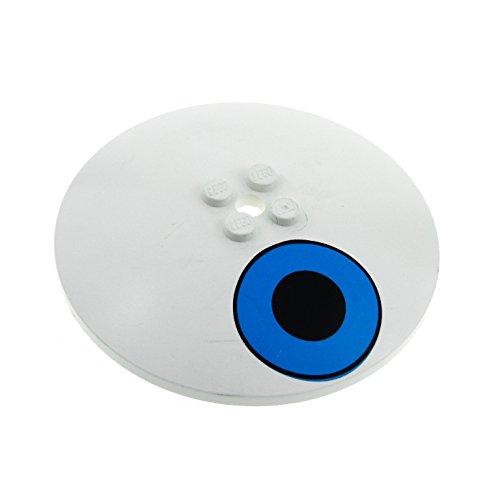 1 x Lego System Sat Schüssel weis 8x8 bedruckt mit Auge blau Radar Schild Schirm für Set Sponge Bob 3836 3961pb03