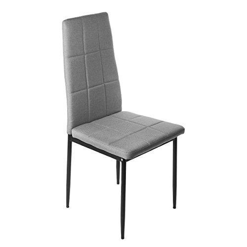 Homekraft Prado Esszimmerstühle Küchenstuhl Polsterstuhl Stuhlgruppe Sitzgruppe Essgruppe (1 Stuhl, Grau)
