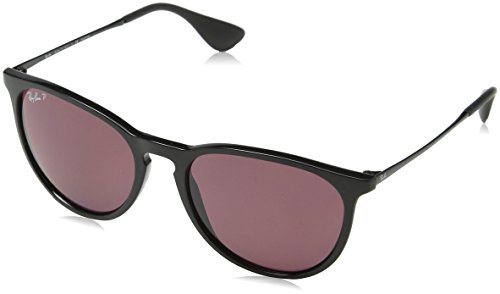 Ray Ban Unisex Sonnenbrille Erika, (Gestell: Schwarz, Gläser: Polarized Violett Verspiegelt 601/5Q), Large (Herstellergröße: 54)