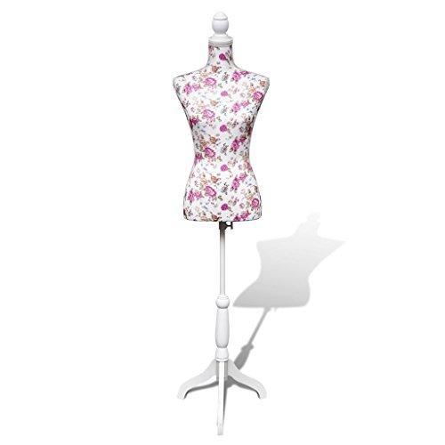 vidaXL Busto de Señoras Maniquí de Exposición Algodón Blanco con Rosa