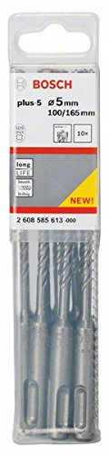 BOSCH 2 608 585 613  - BROCAS PARA MARTILLOS PERFORADORES SDS-PLUS-5 - 5 X 100 X 165 MM (PACK DE 10)