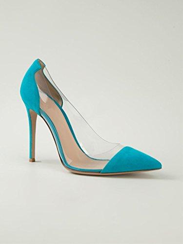 EDEFS Femmes Transparent Talon Escarpins SkyBleu Chaussures fermé A Bout enfiler PVC Aiguille Taille rrIt5qxw