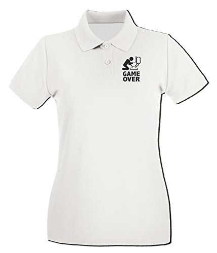 T-Shirtshock - Polo pour femme BEER0060 Game over puke toilet Blanc