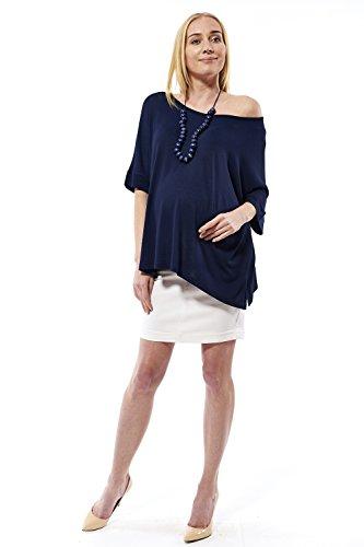 motherway Umstandsbluse Bluse Loose Fit Asymmetrisch Tunika Top Shirt Longshirt T-Shirt Fallend Kombinierbar Schulterfrei Leicht Sommerlich Luftig, Schwangerschaft Babybauch Marineblau