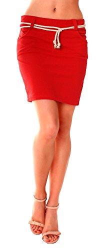Damen Basic Sommer Sweat Jersey Rock Jupe Pencil Minirock Eng Anliegend Kurz Baumwolle Einfarbig One Size Rot