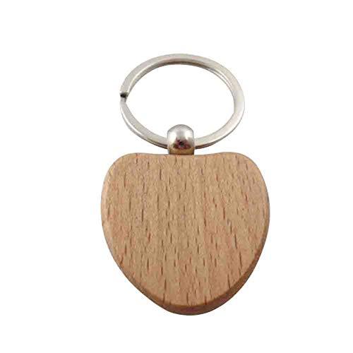 üsselanhänger Holz Schlüsselring für Gravur Nachricht Informationen Schlüsselring Hängende Dekoration für Taschen Geldbeutel 1 Stück, Holz, B, 3.9 * 4CM ()