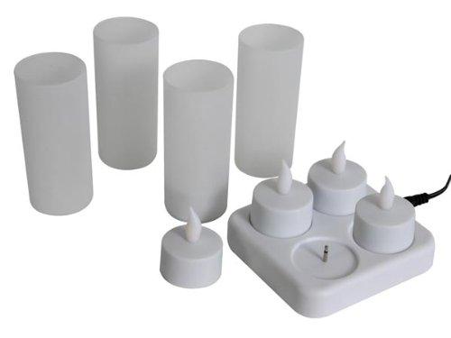 4 bougies à LED rechargeables avec porte-bougies
