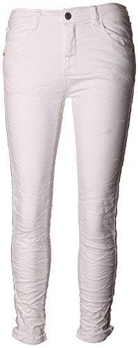 Basic.de Damen-Hose Skinny mit Kontraststreifen aus Metall-Perlen Melly & CO 8166 Weiss S