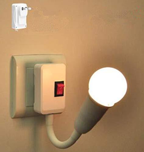 Bombillas LED de ahorro de energía para mesilla de noche lámpara de pared tipo enchufe con interruptor dormitorio super brillante iluminación luz nocturna (1 W luz blanca)